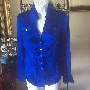 Cache Royal Blue Long Sleeve Blouse